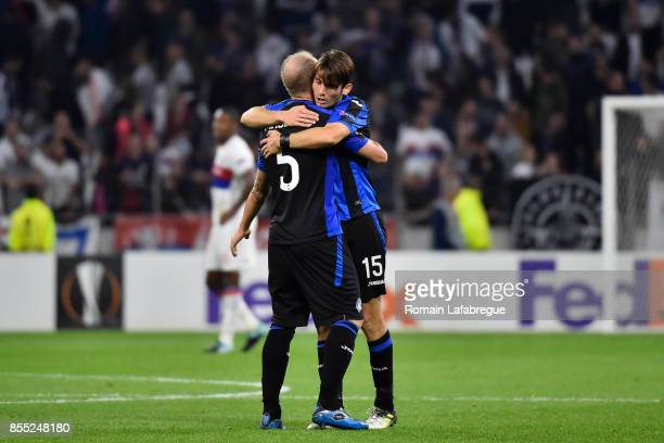Andrea Masiello of Bergame and Marten De Roon of Bergame during the Uefa Europa League match between Lyon and Atalante Bergame on September 28 2017...