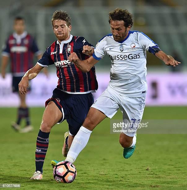 Andrea Mazzarani of FC Crotone and Cristian Raimondi of Atalanta BC in action during the Serie A match between FC Crotone and Atalanta BC at...