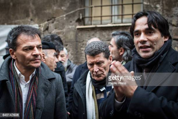Andrea Mazzillo and Stefano Fassina at the reoccupied Rialto Sant'Ambrogio after the evacuation of 16 February 2017 by the Municipal police of Rome...
