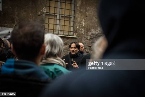Andrea Mazzillo at the reoccupied Rialto Sant'Ambrogio after the evacuation of 16 February 2017 by the Municipal police of Rome Capital