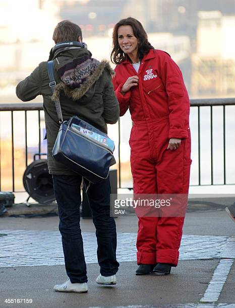 Andrea McLean pictured filming outside the ITV studios on December 11 2013 in London England