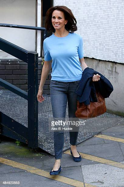 Andrea McLean sighted leaving the ITV Studios after hosting 'Loose Women' April 15 2014 in London England
