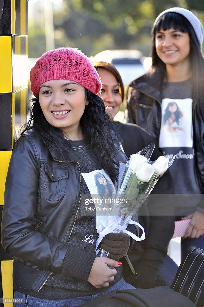 Andrea Meza from Santa Ana, California attends singer Jenni Rivera's memorial ceremony held at Gibson Amphitheatre on December 19, 2012 in Universal City, California.