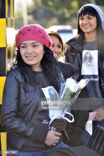 Andrea Meza from Santa Ana California attends singer Jenni Rivera's memorial ceremony held at Gibson Amphitheatre on December 19 2012 in Universal...