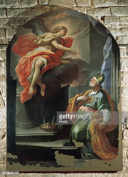 Andrea Miglionico Italian painter Annunciation to Saint Zacharias by the Archangel Gabriel of the birth of his son John the Baptist Sant'Andrea de...