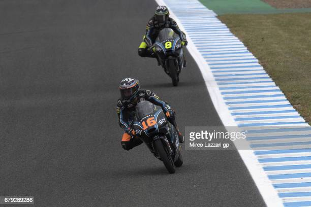 Andrea Migno of Italy and Sky Racing Team VR46 leads Niccolo Bulega of Italy and Sky Racing Team VR46 during the MotoGp of Spain Free Practice at...