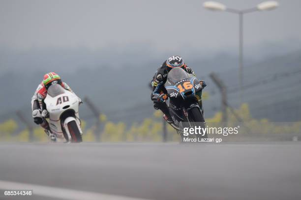 Andrea Migno of Italy and Sky Racing Team VR46 leads the field during the MotoGp of France Free Practice on May 19 2017 in Le Mans France