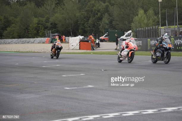 Andrea Migno of Italy and Sky Racing Team VR46 leads the field during the Moto3 race during the MotoGp of Czech Republic Race at Brno Circuit on...