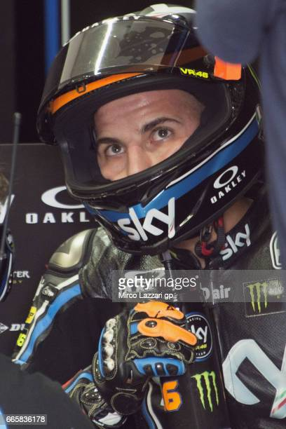 Andrea Migno of Italy and Sky Racing Team VR46 looks on in box during the MotoGp of Argentina Free Practice on April 7 2017 in Rio Hondo Argentina