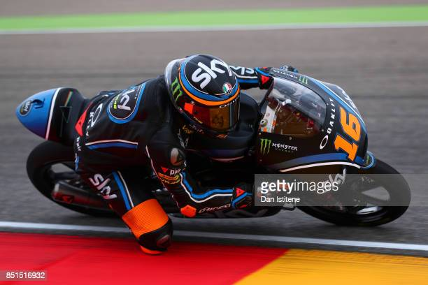 Andrea Migno of Italy and SKY Racing Team VR46 rides during Moto3 practice ahead of the MotoGP of Aragon at Motorland Aragon Circuit on September 22...