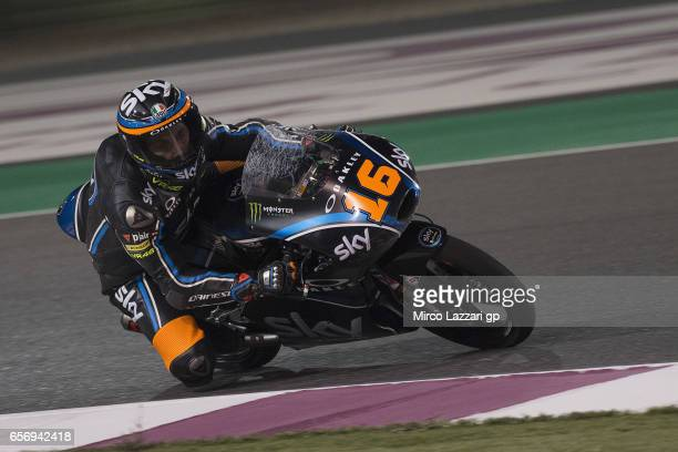 Andrea Migno of Italy and Sky Racing Team VR46 rounds the bend and returns in box during the MotoGp of Qatar Free Practice at Losail Circuit on March...