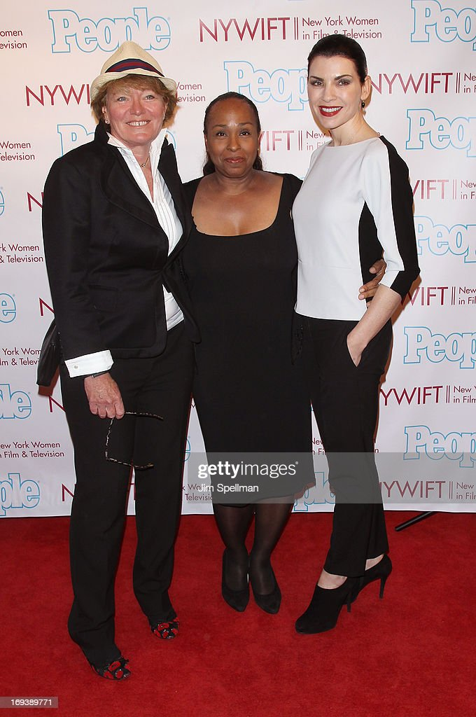 Andrea Miller (C), actress Julianna Margulies (R) and guest attend 2013 NYWIFT Designing Women Awards at The McGraw-Hill Building on May 23, 2013 in New York City.