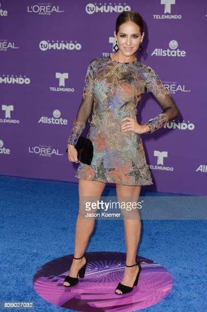 Andrea Minski arrives at Telemundo's 2017 'Premios Tu Mundo' at American Airlines Arena on August 24 2017 in Miami Florida