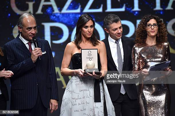 Andrea Monti Flavia Pennetta and Teresa Mannino attend the 'Gazzetta Awards' on December 17 2015 in Milan Italy