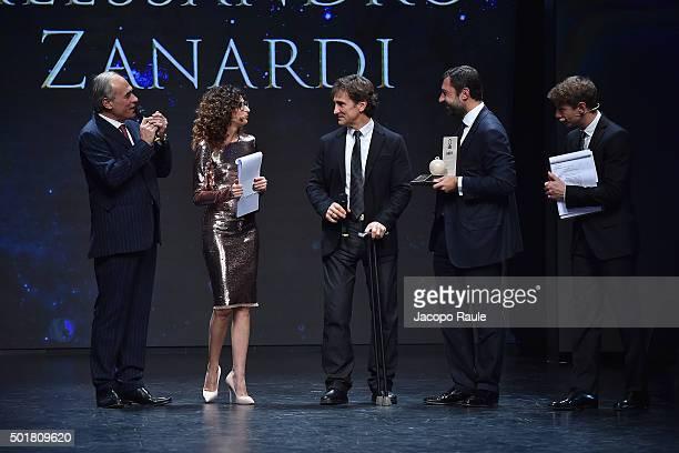Andrea Monti Teresa Mannino Alex Zanardi Guido Damiani and Giorgio Pasotti attend the 'Gazzetta Awards' on December 17 2015 in Milan Italy