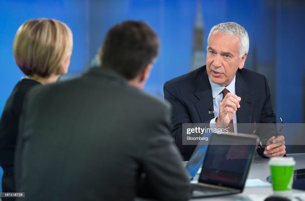 Andrea Morante, chief executive officer of Pomellato SpA, right, speaks during a Bloomberg Television interview in London, U.K., on Thursday, April 25, 2013. PPR SA, the French owner of Gucci, agreed to buy a majority stake in Italian jeweler Pomellato from closely held RA.MO SpA and said it may look at acquiring other watch and jewelry brands to bolster its luxury offer. Photographer: Simon Dawson/Bloomberg via Getty Images