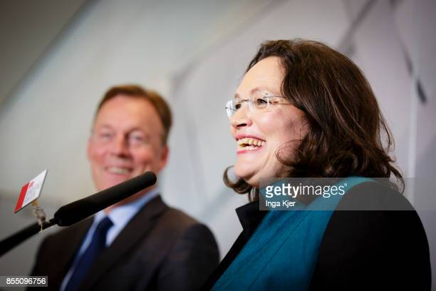 Andrea Nahles a leading member of the German Social Democrats gives a press statement together with Thomas Oppermann after a meeting of the faction...