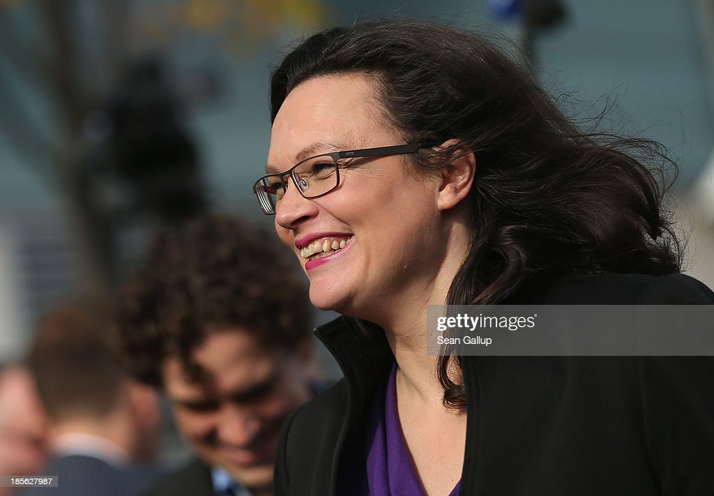 <a gi-track='captionPersonalityLinkClicked' href=/galleries/search?phrase=Andrea+Nahles&family=editorial&specificpeople=822618 ng-click='$event.stopPropagation()'>Andrea Nahles</a>, General Secretary of the German Social Democrats (SPD), arrives for coalition negotiations at the headquarters of the German Christian Democrats (CDU) on October 23, 2013 in Berlin, Germany. The CDU and SPD are meeting for the first day of negotiations in order to create a new coalition government following recent elections in Germany.