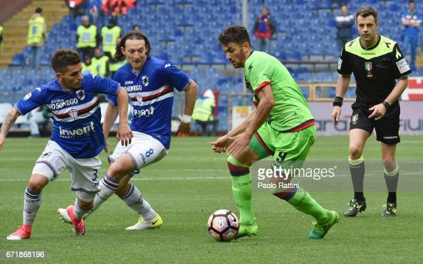 Andrea Nalini chalenge by Lucas Torreira and Edgar Barreto during the Serie A match between UC Sampdoria and FC Crotone at Stadio Luigi Ferraris on...