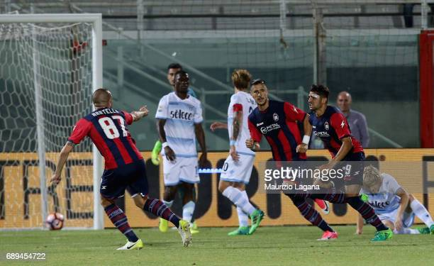 Andrea Nalini of Crotone celebrates after scoring the opening goal during the Serie A match between FC Crotone and SS Lazio at Stadio Comunale Ezio...