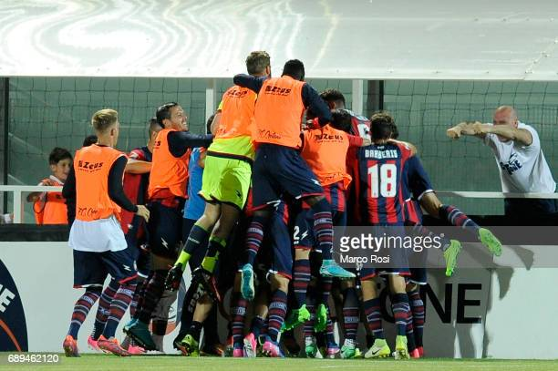 Andrea Nalini of FC Crotone celebrates a opening goal with his team mates during the Serie A match between FC Crotone and SS Lazio at Stadio Comunale...