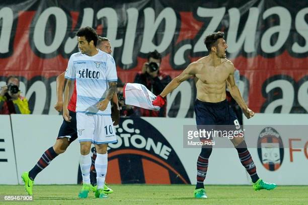 Andrea Nalini of FC Crotone celebrates a third goal during the Serie A match between FC Crotone and SS Lazio at Stadio Comunale Ezio Scida on May 28...