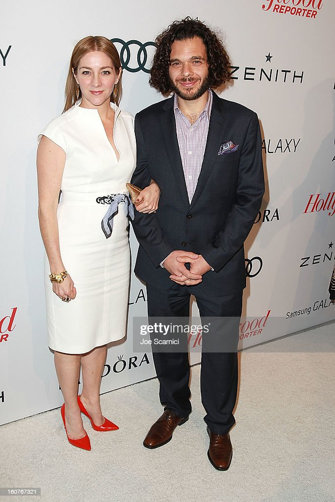 Andrea Niv Fine and date arrive at The Hollywood Reporter nominees' night 2013 celebrating 85th annual Academy Award nominees at Spago on February 4, 2013 in Beverly Hills, California.