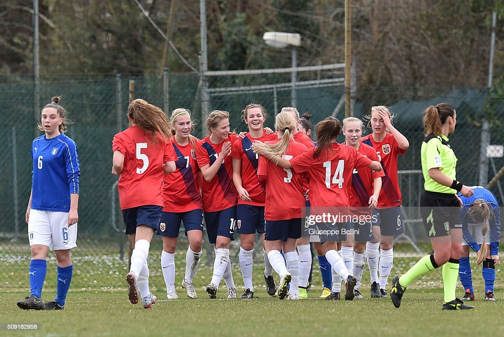 Andrea Norheim of Norway celebrates after scoring the opening goal during the Women's U17 international friendly match between Italy and Norway on February 9, 2016 in Cervia, Italy.