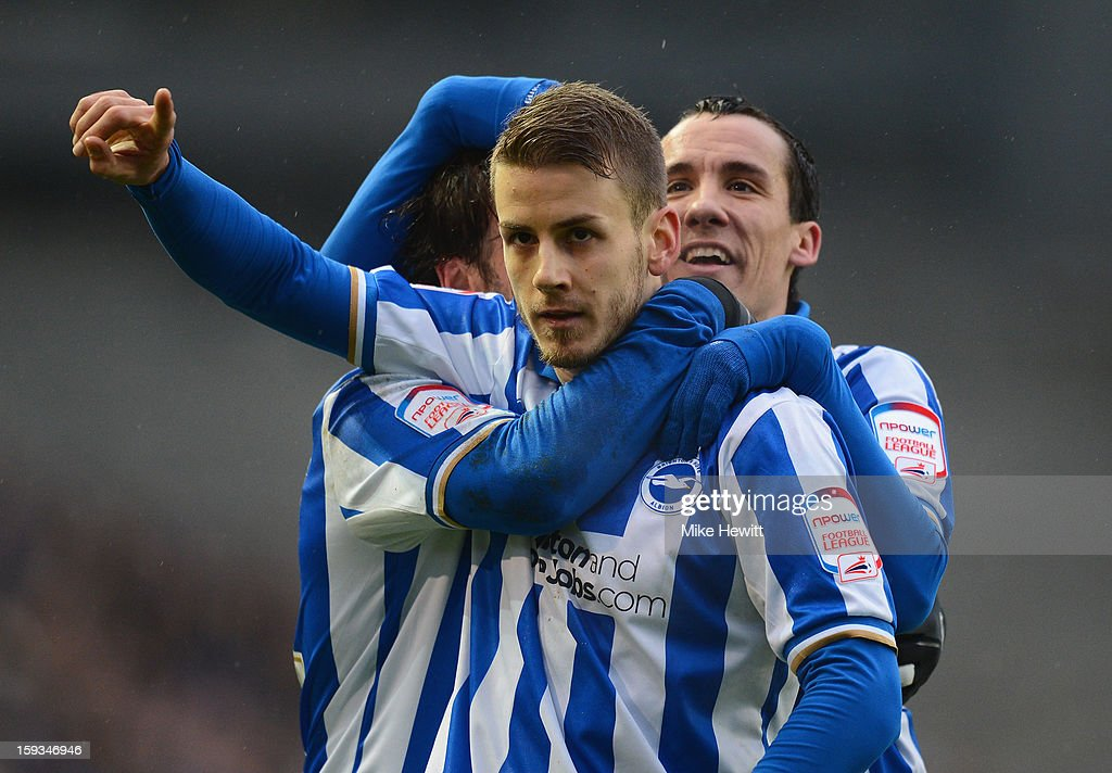 Andrea Orlandi of Brighton celebrates after heading home his team's second goal during the npower Championship match between Brighton & Hove Albion and Derby County at Amex Stadium on January 12, 2013 in Brighton, England.