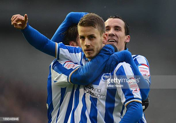 Andrea Orlandi of Brighton celebrates after heading home his team's second goal during the npower Championship match between Brighton Hove Albion and...