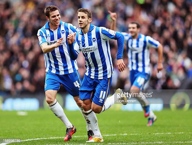 Andrea Orlandi of Brighton Hove Albion celebrates after scoring during the FA Cup with Budweiser Third Round match between Brighton Hove Albion and...