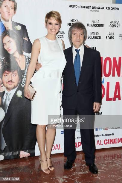 Andrea Osvart and Carlo Vanzina attend the 'Un Matrimonio Da Favola' premiere at Cinema Barberini on April 8 2014 in Rome Italy