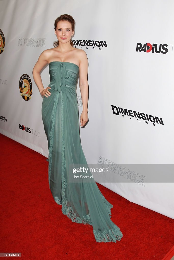 Andrea Osvart arrives at the 'AFTERSHOCK' premiere presented by Dimension Films and RADiUS-TWC in partnership with Shock Top - Red Carpet on May 1, 2013 in Los Angeles, California.