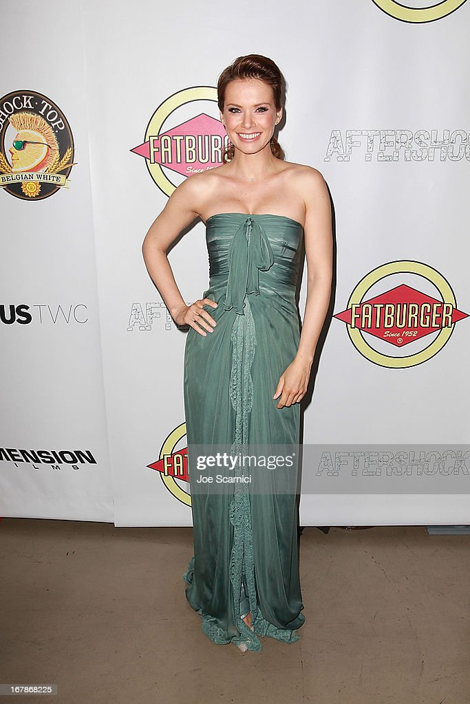 Andrea Osvart arrives at the 'AFTERSHOCK' premiere presented by Dimension Films and RADiUS-TWC in partnership with Fatburger at on May 1, 2013 in Los Angeles, California.