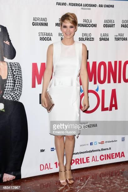 Andrea Osvart attends the 'Un Matrimonio Da Favola' premiere at Cinema Barberini on April 8 2014 in Rome Italy
