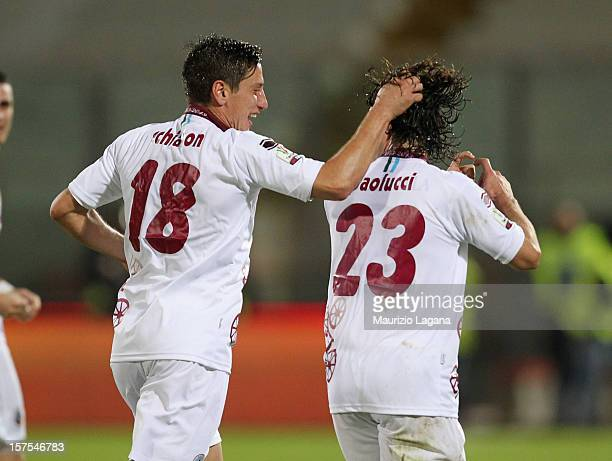 Andrea Paolucci of Cittadella celebrates his team's opening goal during the TIM Cup match between Catania Calcio and AS Cittadella at Stadio Angelo...