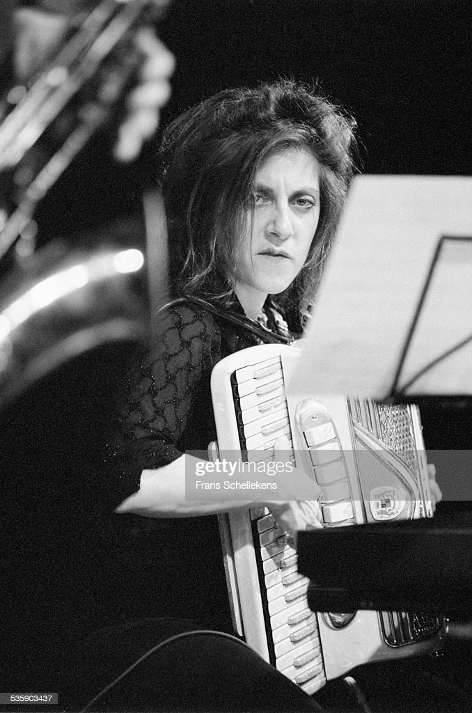 Andrea Parkins, accordion, performs on November 7th 1998 at the BIM huis in Amsterdam, Netherlands.