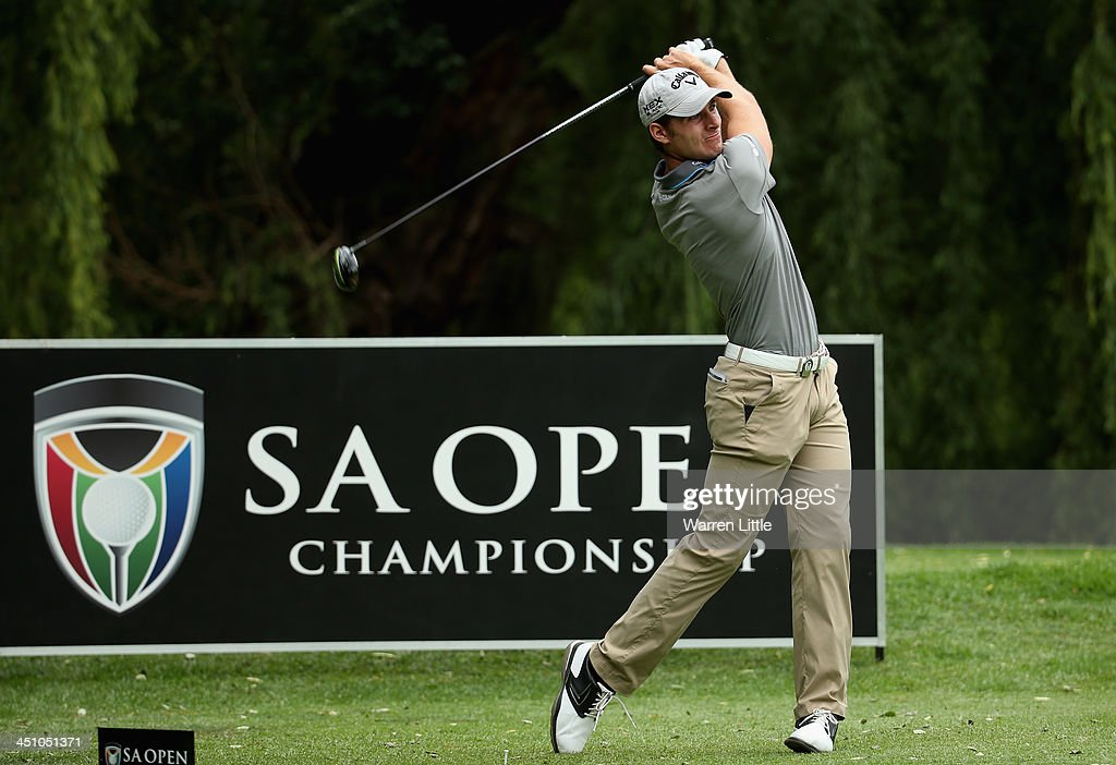 Andrea Pavan of Italy in action during the first round of the South African Open Championship at Glendower Golf Club on November 21, 2013 in Johannesburg, South Africa.