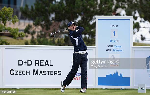 Andrea Pavan of Italy plays his first shot on the 1st tee during day four of DD REAL Czech Masters at Albatross Golf Resort on August 24 2014 in...