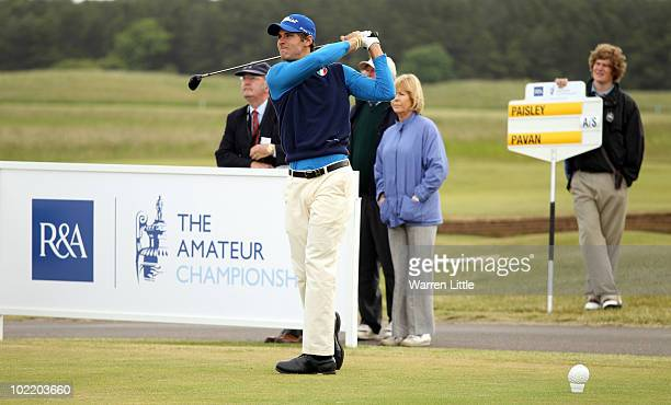 Andrea Pavan of Italy tees off on the first hole during his Quarter Final match against Chris Paisley of England for The Amateur Championship at...