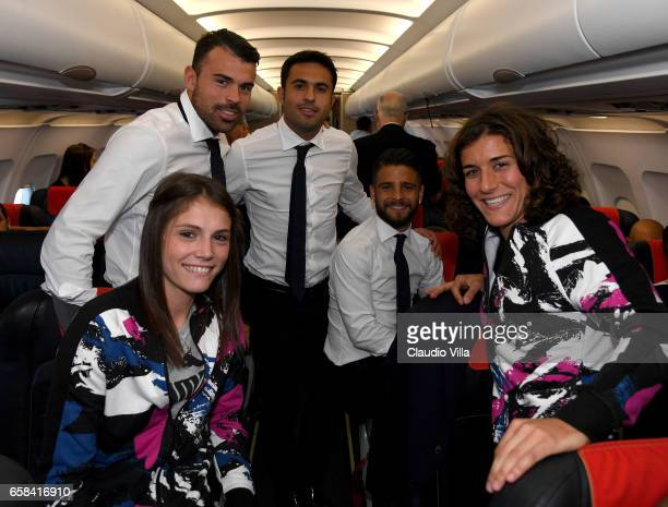 Andrea Petagna Cecilia Salvai Eder Lorenzo Insigne and Marta Carissimi pose for a photo on board on March 27 2017 in Florence Italy