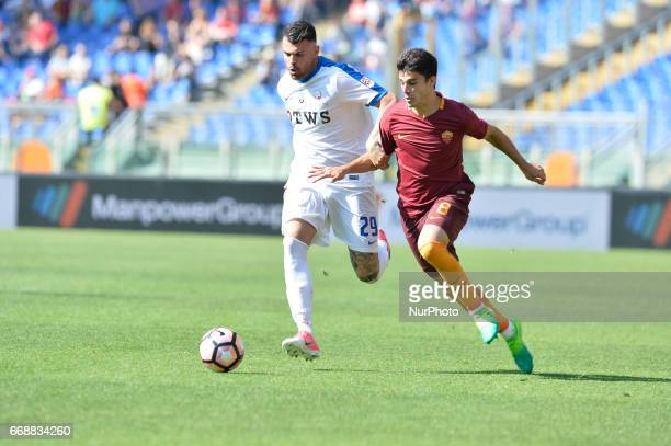 Andrea Petagna Diego Perotti during the Italian Serie A football match between AS Roma and AC Atalanta at the Olympic Stadium in Rome on april 15 2017