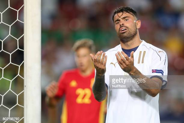 Andrea Petagna during the UEFA European Under21 Championship Semi Final match between Spain and Italy at Krakow Stadium on June 27 2017 in Krakow...