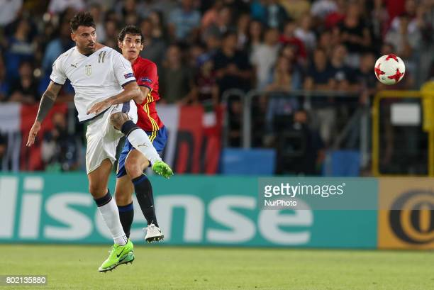 Andrea Petagna Jesus Vallejo during the UEFA European Under21 Championship Semi Final match between Spain and Italy at Krakow Stadium on June 27 2017...