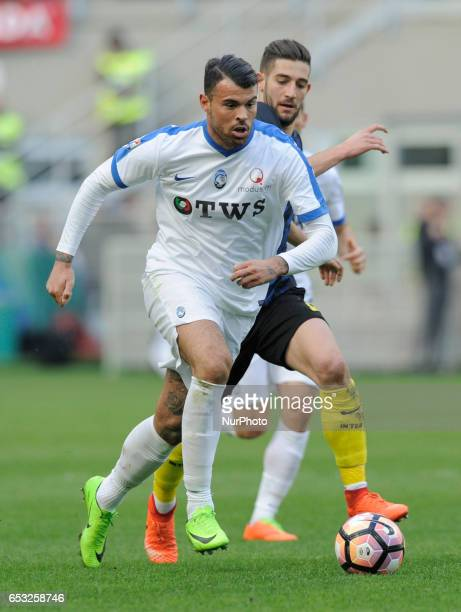 Andrea Petagna of Atalanta and Roberto Gagliardini of Inter during the Serie A match between FC Internazionale and Atalanta at Stadio Giuseppe Meazza...