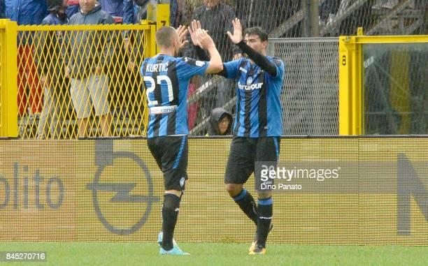 Andrea Petagna of Atalanta BC ceebrates after scoring his team's second goal during the Serie A match between Atalanta BC and US Sassuolo at Stadio...