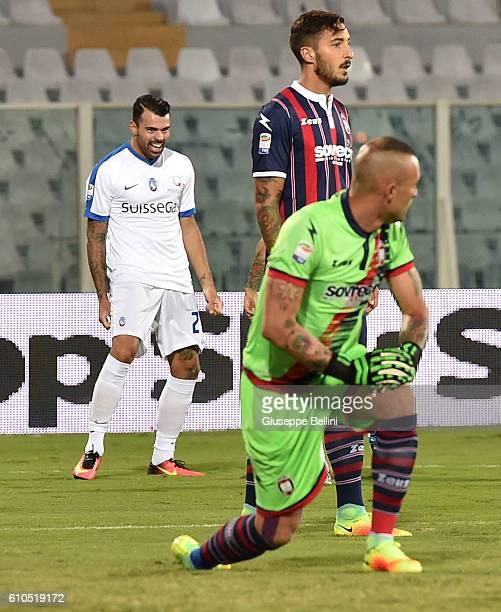 Andrea Petagna of Atalanta BC celebrates after scoring the opening goal during the Serie A match between FC Crotone and Atalanta BC at Adriatico...
