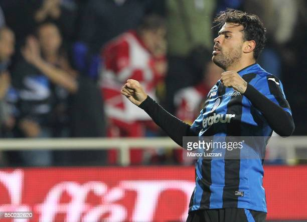 Andrea Petagna of Atalanta BC celebrates after scoring the opening goal during the Serie A match between Atalanta BC and FC Crotone at Stadio Atleti...