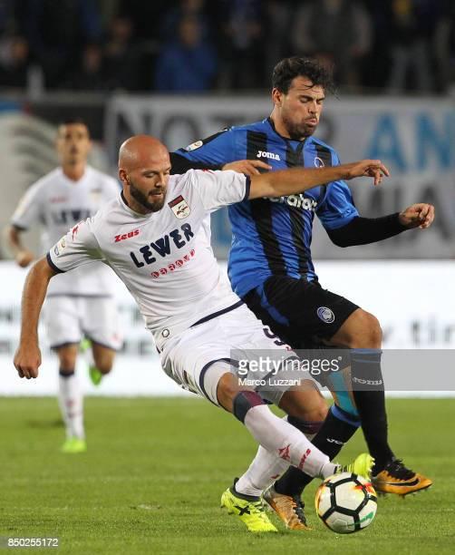 Andrea Petagna of Atalanta BC competes for the ball with Arlind Ajeti of FC Crotone during the Serie A match between Atalanta BC and FC Crotone at...