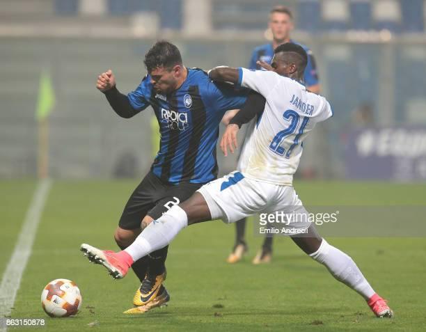 Andrea Petagna of Atalanta BC competes for the ball with Jander Ribeiro Santana of Apollon Limassol FC during the UEFA Europa League group E match...
